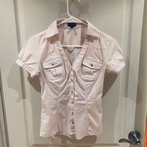 Express short sleeve colored/button up shirt XS